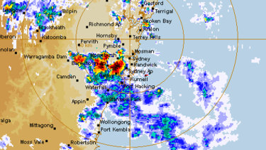 The Sydney radar just before 7pm.