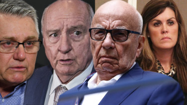 Axis of influence: Ray Hadley, Alan Jones, Rupert Murdoch and Peta Credlin.