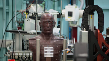 A 'patient' is positioned inside the Synchrotron.