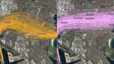 Sydney Airport changes: The temporarily suspended flight path, left, and the current situation.