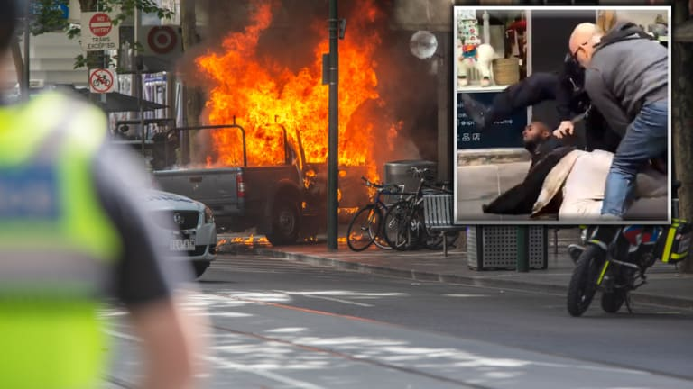 The ute bursting into flames on Bourke Street. (Inset: police tackle Shire Ali.)