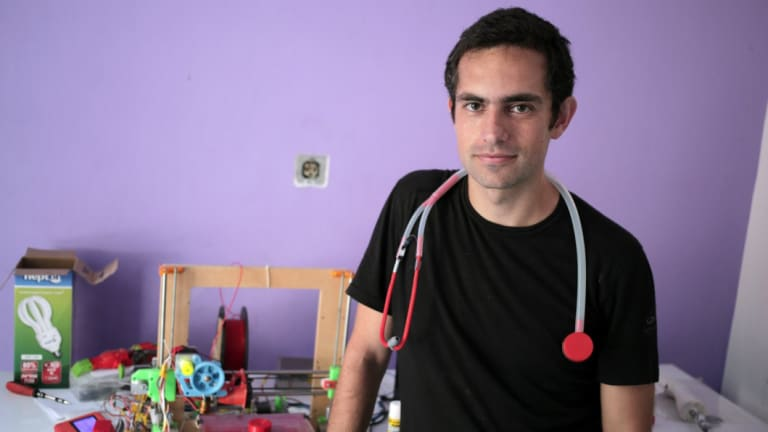 Dr Tarek Loubani, with one of his 3D-printed stethoscopes.