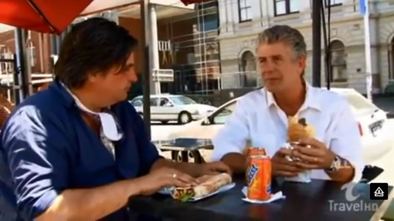 Anthony Bourdain visits Town Hall Kebab with Matt Preston for his TV show No Reservations.