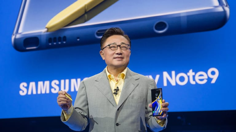 Samsung chief executive DJ Koh launches the Galaxy Note9 in Barclay Center, Brooklyn.