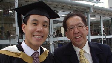 Alpha Cheng with his father Curtis  Cheng, who was shot outside of police headquarters in Parramatta.