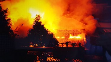 The fiery blaze that destroyed the Gymea flat and killed Jeffrey Lindsell.