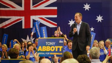 Tony Abbott at the 2016 campaign launch for the seat of Warringah.