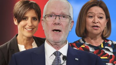 "Wordsmith: Justin Milne (centre) wanted Michelle Guthrie (right) to sack Emma Alberici (left), so he suggested she explore ""external career development opportunities""."
