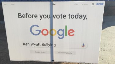 Signage displayed in Ken Wyatt's seat of Hasluck on election day.