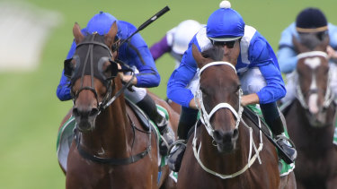 Winx runs past Happy Clapper in last year's Chippping Norton Stakes.