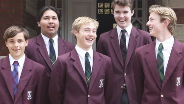 Senior Scotch College captain of school Joshua Ledger (front centre) with Jarvis Banfield, Brenton Macauley, Jim Allan and Simon Arnott.