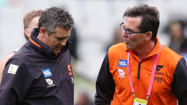 Friday night's shocking defeat to Hawthorn has put GWS Giants coach Leon Cameron and head of football Wayne Campbell in the gun.