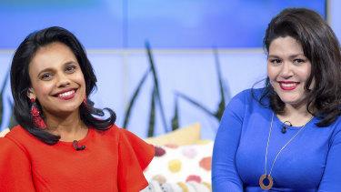 Miranda Tapsell and Nakkiah Lui in the final episode of Get Krack!n.