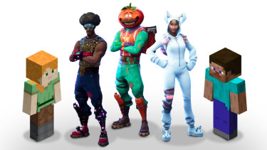 Characters from the popular games Fortnite and Minecraft, which use micro-transactions to allow players to buy items in-game.