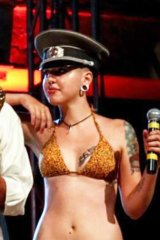 Off Key: Dionna Dal Monte performs her ill-fated Burlesque show the Summer Jamboree, exposes her swastika tattoo.
