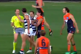 Tom Hawkins missed a week for this incident.