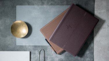 The HP Spectre Folio is covered in leather.