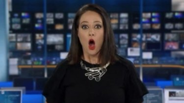 Natasha Exelby during her on-air gaffe in 2017 on ABC.
