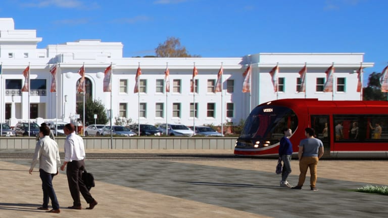 An artist's impression of the tram in front of Old Parliament House.