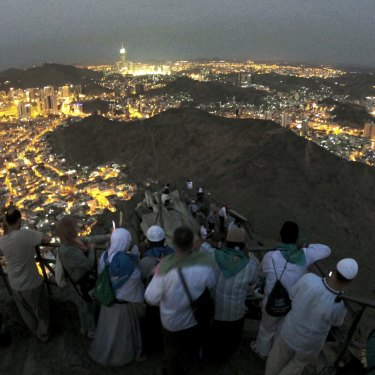 Muslim pilgrims view Mecca from the Jabal al-Nour (mountain of the light) during this year's Haj. A cave in the mountain is believed to be the site of Muhammad's first revelation from God.