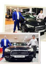 Nick Zhao (right) at his car dealership.