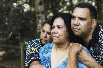 From left, Paula, Muriel and Lucas Craig, the family of murdered Bowraville teen Collen Walker-Craig.