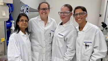 Nita Patel, left, leads an all-female team working on the Novavax vaccine.