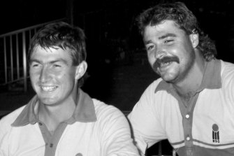 Geoff Marsh and David Boon after a one-day international in the 1980s. Such games are part of Rob Moody's online collection.