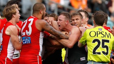 The Swans and the Giants played a brutal, and memorable, qualifying final in 2016.