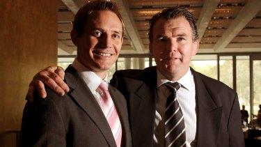 Owen Finegan (right) with Wallabies teammate and fellow 1999 World Cup winner Stephen Larkham.