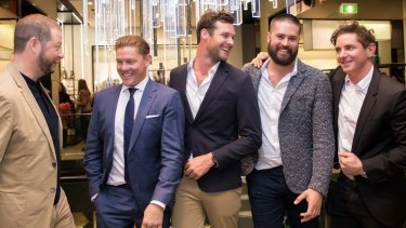 (L-R) Matthew Keighran, Damien Thomlinson, Lucas Handley, Michael Harry and Vincent Fantauzzo at the Hugo Boss and Executive Style magazine's night of fashion, whiskey and discussion at the German brand's King Street store,
