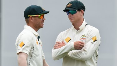 Together again: David Warner and Steve Smith were banned for 12 months for their roles in the ball-tampering scandal in South Africa.