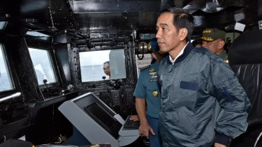 Joko Widodo inspects Natuna Islands in 2016.