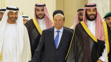 Yemen's President Abed Rabbo Mansour Hadi, centre, with Saudi Arabia's Crown Prince Mohammed bin Salman, right, and Abu Dhabi's Crown Prince Mohammed bin Zayed, left, before signing a power-sharing deal in Riyadh, Saudi Arabia.