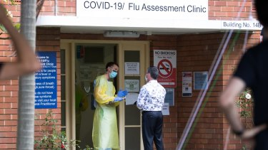 The coronavirus testing clinic at Prince of Wales Hospital in Randwick.