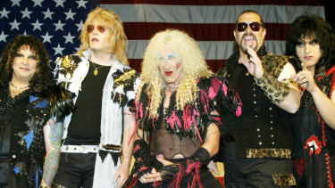 Members of metal band Twisted Sister, A.J. Pero, J.J. French, Dee Snider, Mark Mendoza, and Eddie Ojeda.
