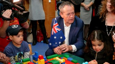 Bill Shorten has promised to lift childcare wages by 20 per cent.