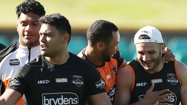 Tigers old boy: Farah appeared in good spirits with potentially one last game looming.