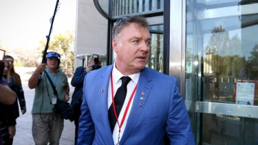 Former senator Rod Culleton at the High Court of Australia during the 2016 hearing that led to his disqualification.