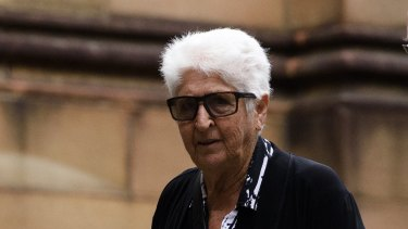 Dawn Fraser arrives at the funeral.