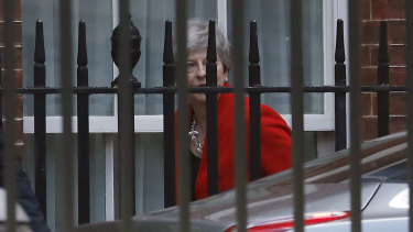 Theresa May leaves Downing Street after announcing her resignation.