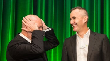Woolworths CEO Brad Banducci (right) and chairman Gordon Cairns (left) aren't fighting Perpetual's stance.