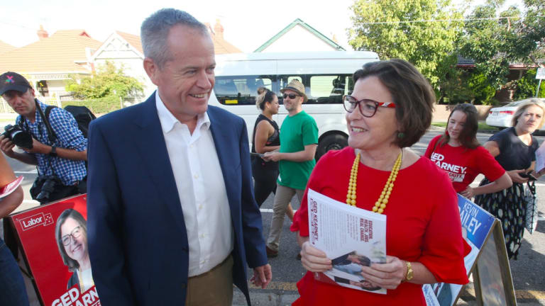 Opposition Leader Bill Shorten with Labor MP Ged Kearney during the Batman byelection.