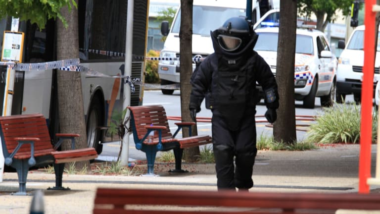 The bomb squad was called in to search the bus.