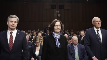 FBI director Christopher Wray, CIA director Gina Haspel and National Intelligence director Dan Coats testified before the Senate.