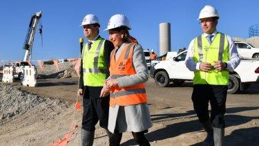 NSW Premier Gladys Berejiklian inspects the WestConnex M5 interchange in St Peters.