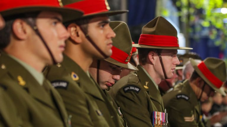 New Zealand servicemen at the Anzac Day dawn service in Sydney's Martin Place.