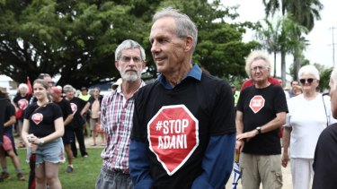 Former Greens Leader Bob Brown at a Stop Adani rally at Mackay , Queensland, last month.