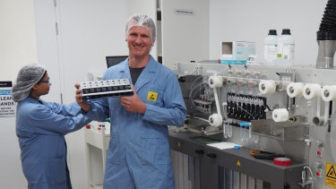 Ellume's CEO and founder, Sean Parsons, in the company's east Brisbane lab.
