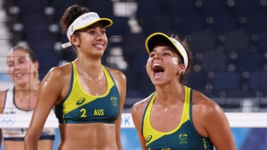 TOKYO, JAPAN - JULY 28: Mariafe Artacho del Solar #1 and Taliqua Clancy #2 of Team Australia react after defeating Team Italy during the Women's Preliminary Round - Pool E beach volleyball on day five of the Tokyo 2020 Olympic Games at Shiokaze Park on July 28, 2021 in Tokyo, Japan. (Photo by Sean M. Haffey/Getty Images)